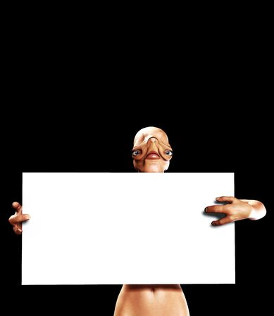 An image of an alien holding up a blank customisable sign. Stock Photo - 2909359