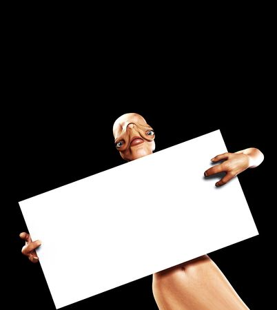 An image of an alien holding up a blank customisable sign. Stock Photo - 2909362
