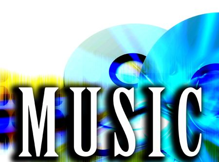 dvds: An image of some cds or DVDs with the word music in the foreground.