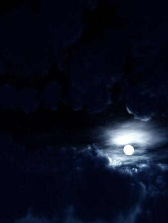 nightime: L'immagine di una luna molto semplice all'interno di alcuni nightime nuvole ..