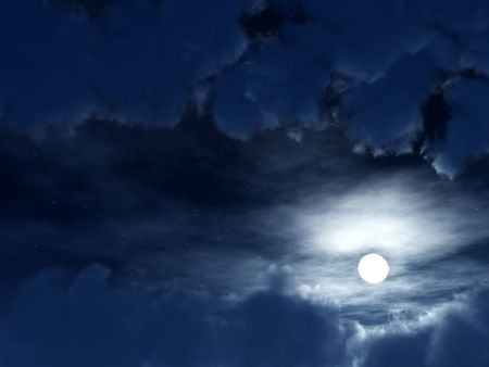 nightime: An image of a very simple moon within some nightime clouds.