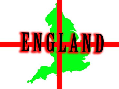 brit: A conceptual image of the map of England against the English flag. Stock Photo
