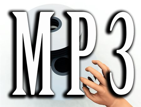 dvds: An image of some cds or DVDs with the word MP3 in the foreground, this word represents how CDs and DVDs are being converted to the MP3 format. Stock Photo