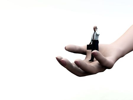 gigantic: Concept image of a businessmen on a giant hand, this is representing help and support concepts for business.