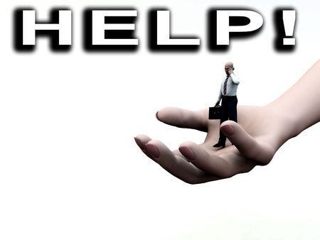 gigantic: Concept image of a businessmen on a giant hand, with the word help. The image represents help and support concepts for business
