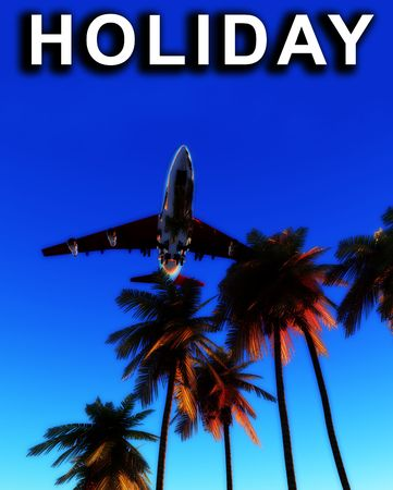 would: An image of a plane and palm trees against a tropical clear sky, it would be a good conceptual image representing holidays.