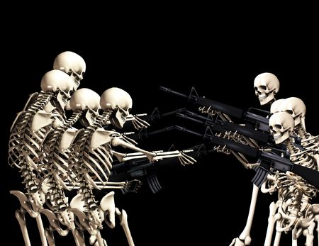 would: An conceptual image of some skeletons with guns, it would be good to represent concepts of war,crime and . Stock Photo