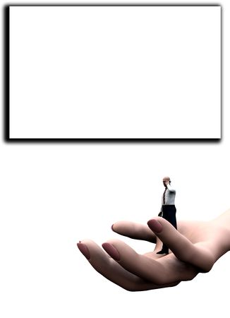 customise: Concept image of a businessmen on a giant hand, this is representing help and support concepts for business. It has a blank frame customisable area. Stock Photo