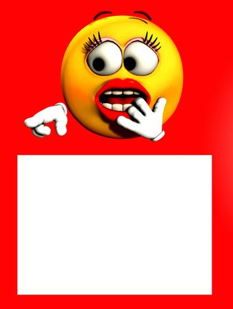 An image of a very shocked female cartoon face, pointing at a customisable white space which you can put your own text in.