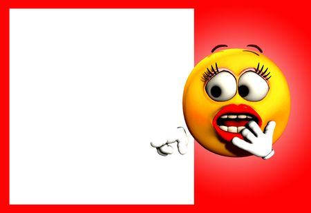 customisable: An image of a very shocked female cartoon face, pointing at a customisable white space which you can put your own text in.