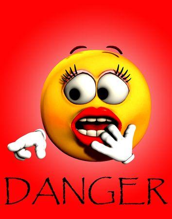 Una imagen de una mujer muy conmocionado caricatura cara, apuntando a la palabra peligro.  Foto de archivo - 3060472