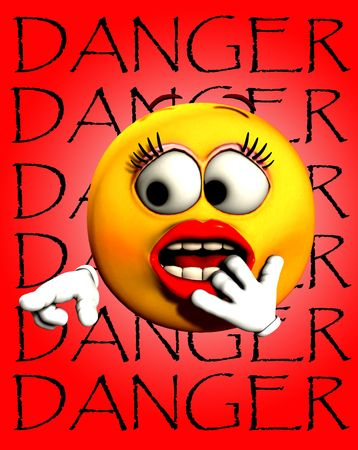 An image of a very shocked female cartoon face, pointing at the word danger.