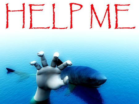help me: An image of a shark that is about to eat a man. It would be a good conceptual image for people that are requesting help.