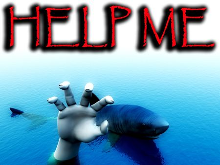 An image of a shark that is about to eat a man. It would be a good conceptual image for people that are requesting help. photo