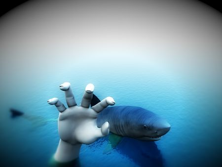 An image of a shark that is after a man. It would be a good conceptual image for people that are requesting help. photo