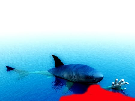 predictor: An image of a shark that has bitten a man. It would be a good conceptual image for people that are requesting help.