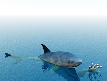 predictor: An image of a shark that is after a man. It would be a good conceptual image for people that are requesting help.