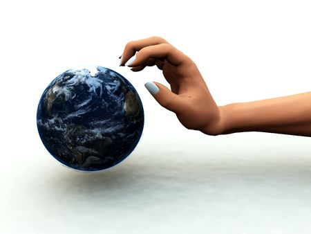 A abstract concept image of a hand of a person that wants to control and dominate the world. photo
