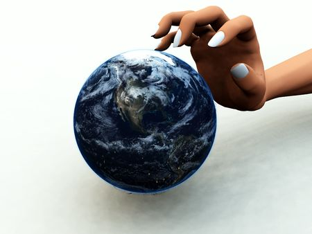 A abstract concept image of a hand of a person that wants to control and dominate the world.