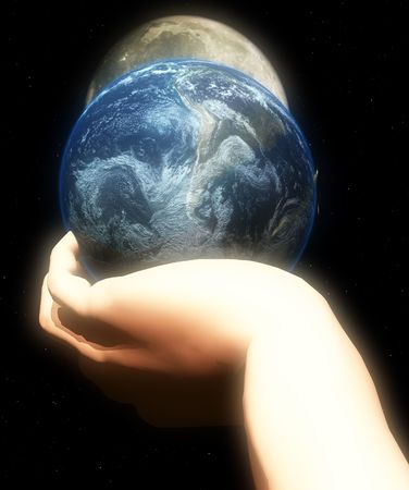 godlike: A conceptual religious image showing god protecting and holding the world in his hand.