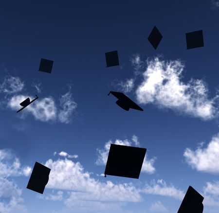 mortar hat: An image of a lot of mortar boards thrown in the air in celebratory fashion due to the success of graduation.