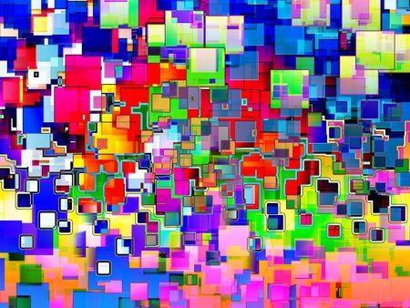 would: A colourful abstract background made out of squares. It would make an intresting background texture.