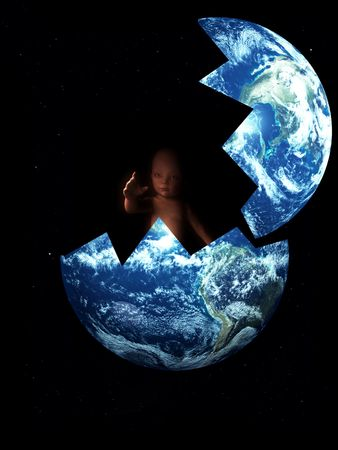 hatched: A conceptual image showing how the world can create life, in this case a .