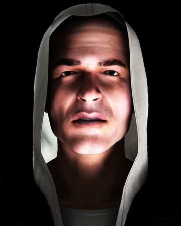 asbo: An image of a angry thug with a hoodie, it would be good image to highlight criminality concepts.