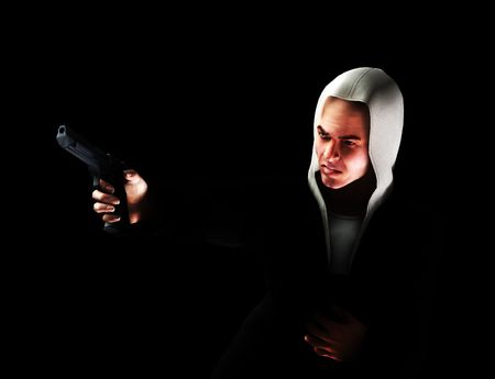 asbo: An image of a angry thug with a hoodie that has a gun, it would be good to highlight criminality concepts.