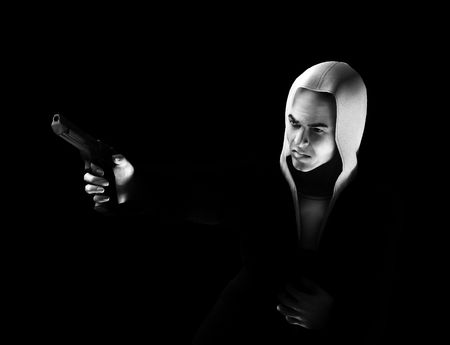 criminality: An image of a angry thug with a hoodie that has a gun, it would be good to highlight criminality concepts.