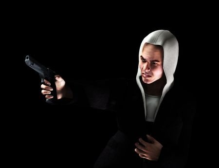 An image of a angry thug with a hoodie that has a gun, it would be good to highlight criminality concepts Stock Photo - 3241803