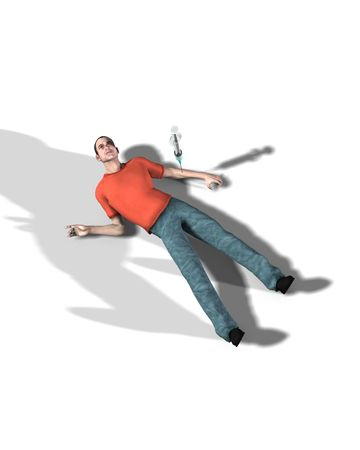 druggie: Una immagine concettuale che mostra un uomo che � morto da un overdose. Archivio Fotografico