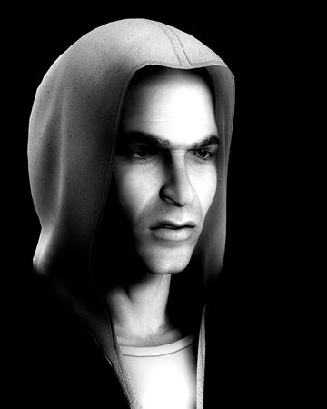 criminality: An image of a angry thug with a hoodie, it would be good image to highlight criminality concepts.