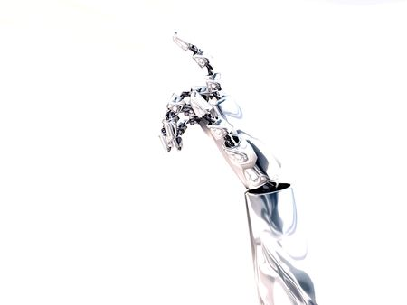A robotic hand that is making a gesture. Stock Photo