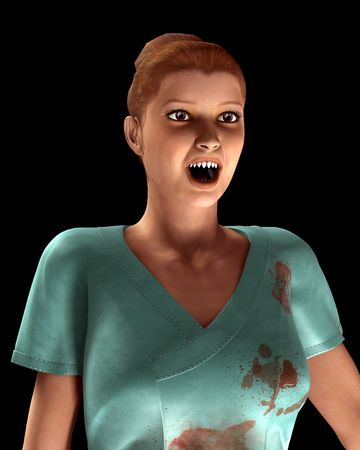 would: A image of a vampire nurse in with blood all over her scrubs clothing. It would be a good  image.