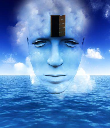 perceptive: Un molto astratto e concettuale, l'immagine di un volto mans, tutti su fantasia e mindness aperto.