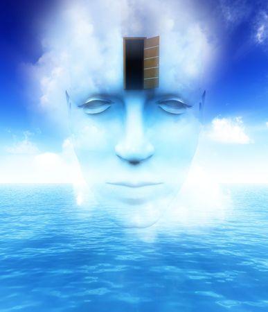 perceptive: Un molto astratto e concettuale immagine di un volto mans, tutti i immaginazione circa mindness e aperto.  Archivio Fotografico