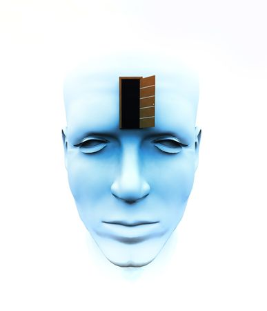 A very abstract and conceptual image of a mans face, all about imagination and open mindness. photo