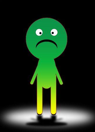 cheerless: A conceptual image of a sad cartoon man.