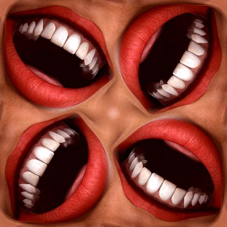 exultant: A seamless tile pattern background made out of funny smiling mouths.