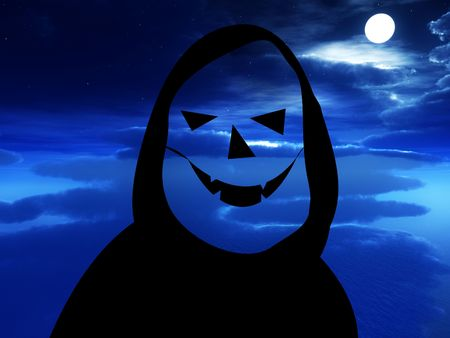 ghostly: A cartoon version of death with a nightime background. Stock Photo