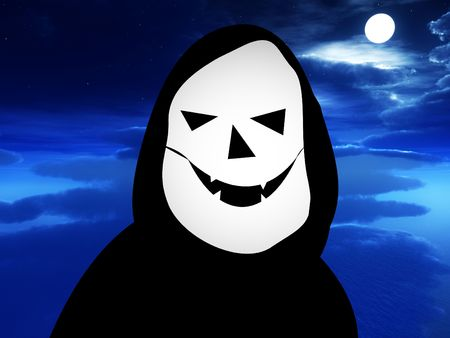 nightime: A cartoon version of death with a nightime background. Stock Photo