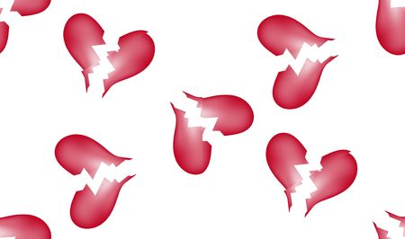 unloved: A seamless tile pattern background made out of broken hearts.
