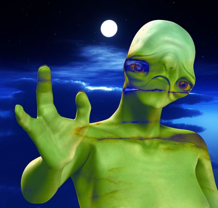 nightime: An alien against a cloudy moonlit nightime sky. Stock Photo