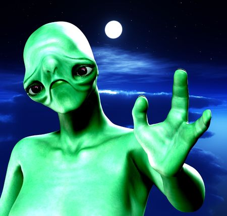 An alien against a cloudy moonlit nightime sky. Stock Photo - 3523450