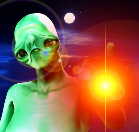 An alien against a cloudy moonlit nightime sky. Stock Photo - 3523437