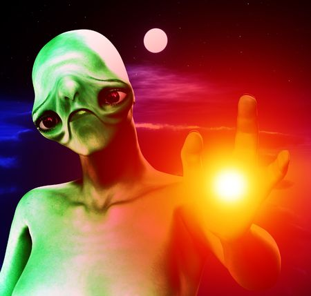 An alien against a cloudy moonlit nightime sky. Stock Photo - 3523435