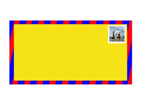 customisable: A blank customisable letter with a stamp of Tower Bridge a famous UK landmark. Stock Photo