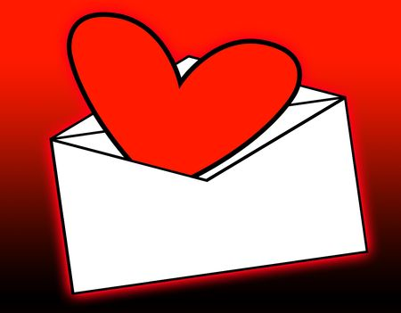 delivered:  A love heart that has been delivered in the mail.