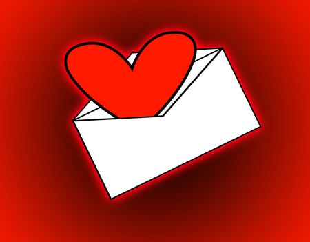 heartshaped:  A love heart that has been delivered in the mail.